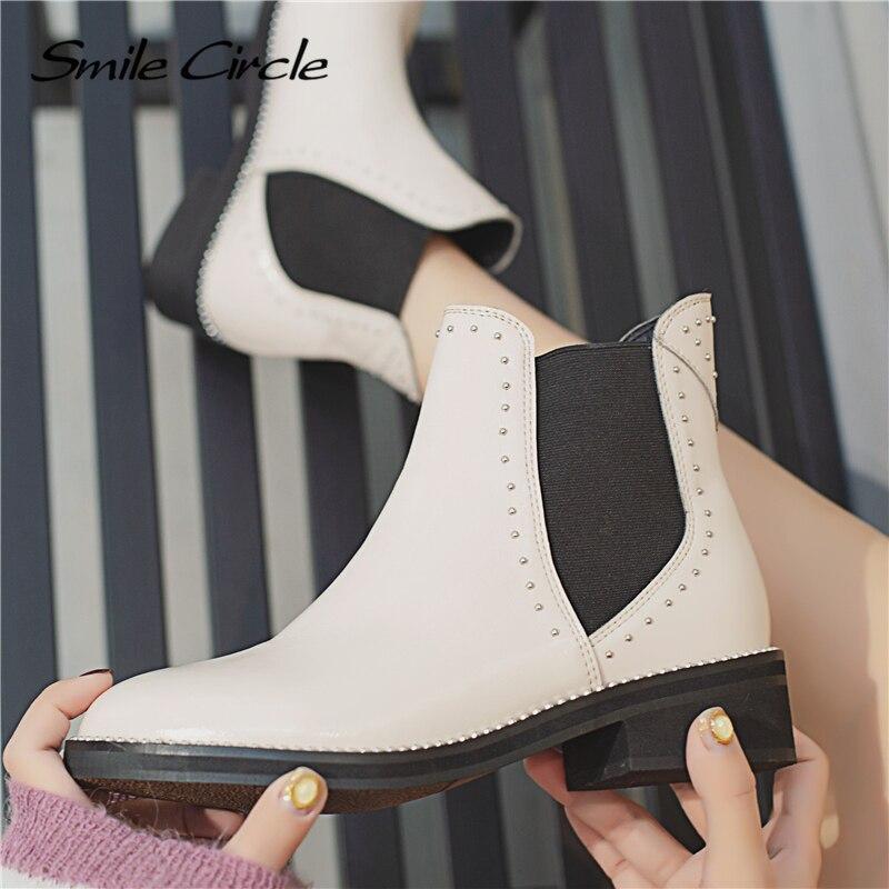 Sonrisa En Moda Mujer Remache Botas Primavera Punta Redonda Negro Para Y 2019 Tobillo El Blanco Cuero blanco Círculo De La Plana Zapatos Negro r5PwZr