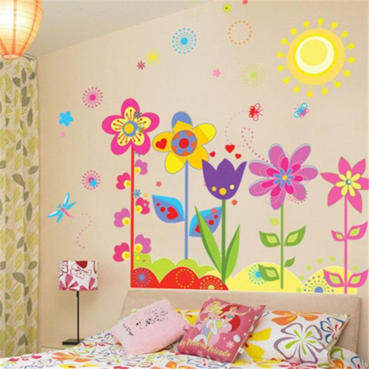 Diy Carton Sun Flower Dragonfly Wall Stickers Girl Boy