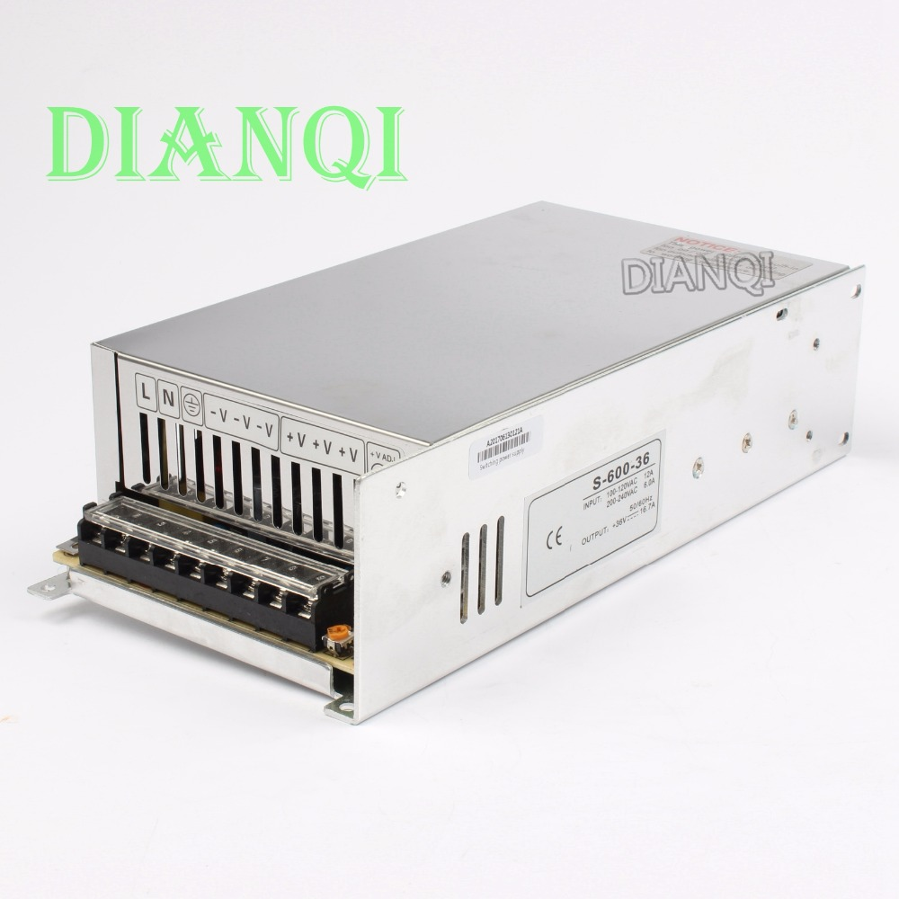 600W 36V 16.6A 110V input Single Output Switching power supply for LED Strip light AC to DC switching power supply S-600-36 1200w 12v 100a adjustable 220v input single output switching power supply for led strip light ac to dc