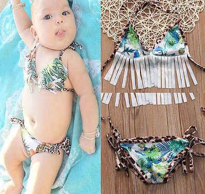 0-2Y nouveau-né infantile bébé filles enfants léopard gland Bandage Bikini ensemble maillots de bain maillot de bain été maillot de bain maillots de bain Biquini