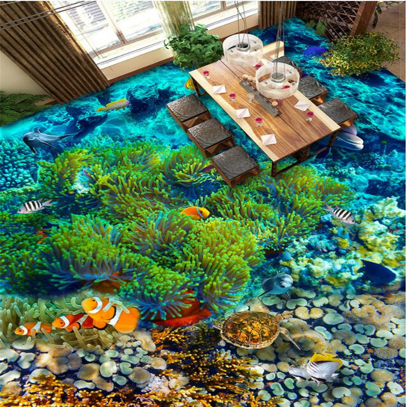 Beibehang Custom 3D flooring underwater world tropical fish 3d flooring tiles living room room bathroom decorative wallpaper чугунная ванна roca malibu 160x75 antislip с отверстиями для ручек a2310g000r