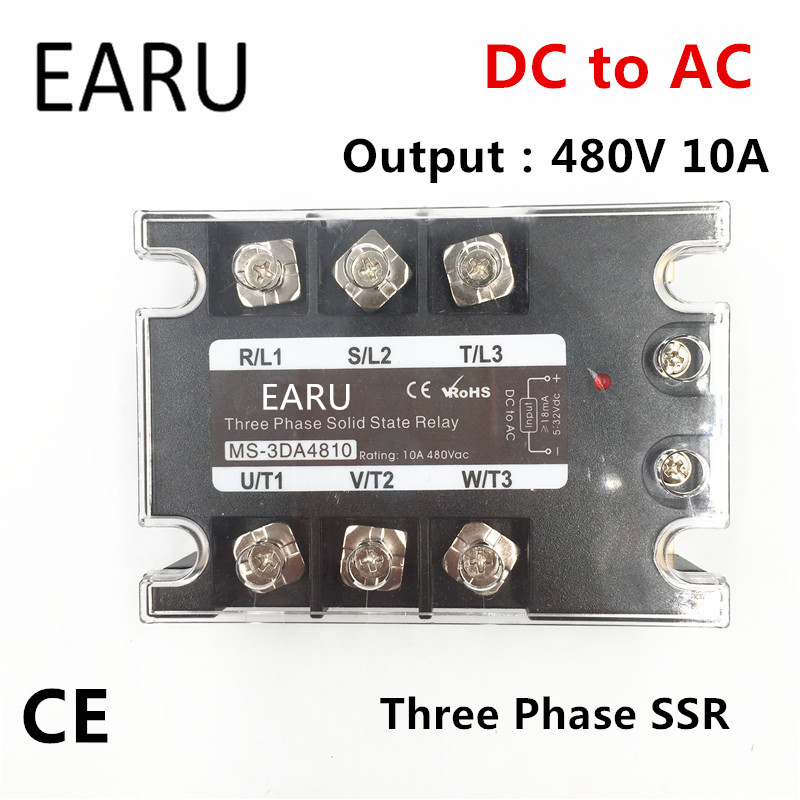 TSR-10DA SSR-10DA Three Phase Solid State Relay DC 5-32V Input Control AC 90~480V Output Load 10A 3 Phase SSR High Power DA4810 ssr 25a single phase solid state relay dc control ac mgr 1 d4825 load voltage 24 480v