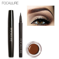 FOCALLURE 3Pcs Nude Eyes Daily Matte Makeup Set Use Black Eyeliner Mascara And Eyebrow Cream Waterproof