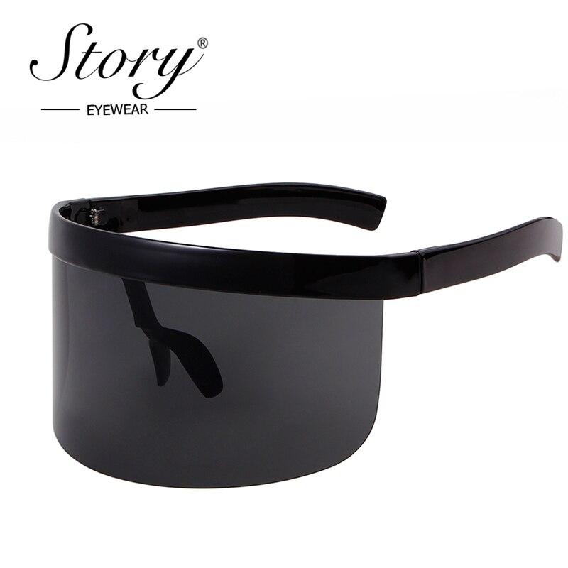 5e11bf5522 STORY 2018 Shield Visor Sunglasses For Women Brand Big Frame Mask Glasses  Huge Oversized Sunglasses Men