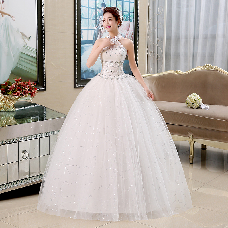 Wedding Dress Halter New Bride Ball Gowns Lace Up Wedding Dresses Embroidery Diamond Straps Large Size Princess Dresses