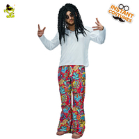 Mens Hippie Costume With Colorful Fashion Flare Trousers Bellbottoms Adult Mens 60 S 70 S Costumes