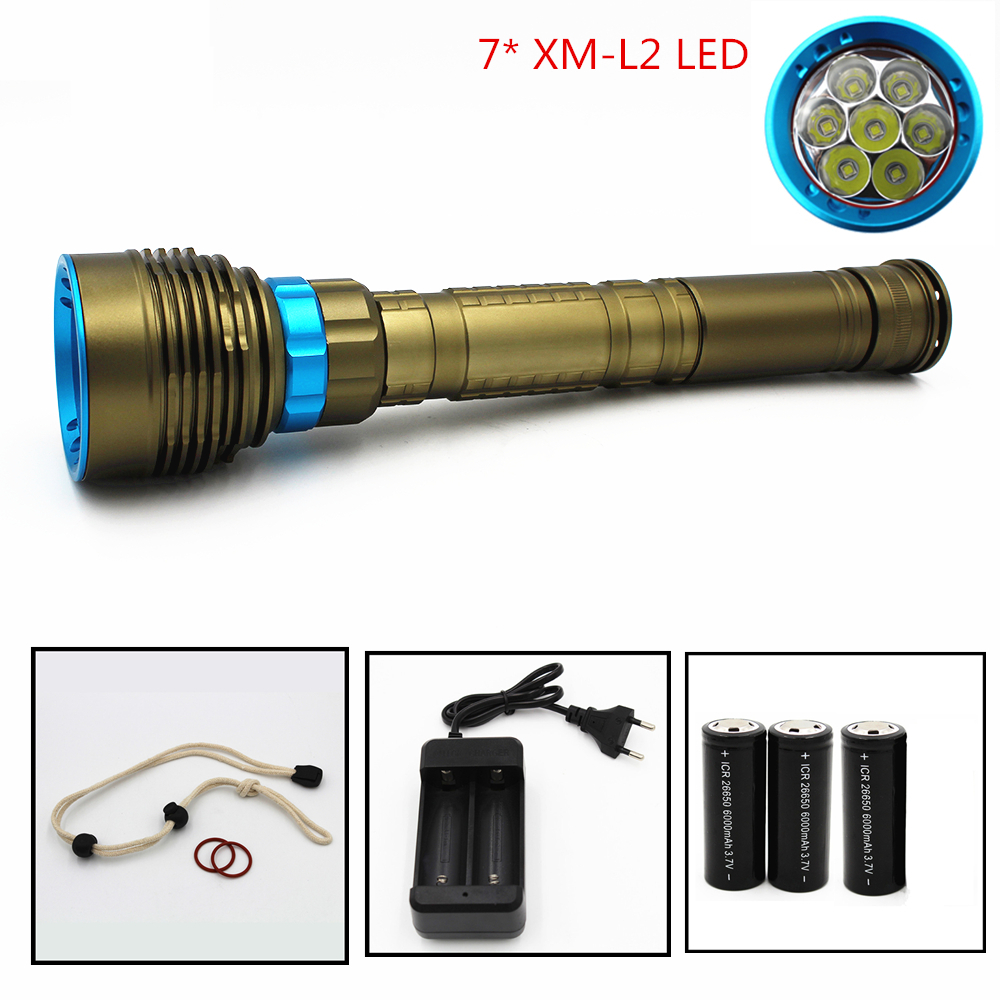 Waterproof LED Diving flashlight 7 x CREE XML-T6 XM-L2 8400LM 3 Modes 70W Underwater 100M Torch Supply 18650 26650 Charger 950lm 3 mode white bicycle headlamp w cree xm l t6 black silver 2 x 18650
