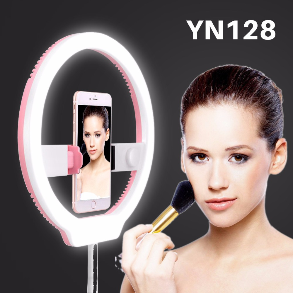 Yongnuo YN128 Camera Photo/Studio/Phone Video LED Ring Light 3200K-5500K Photography Dimmable Beautify Lamp for iPhone 8 X Canon yongnuo yn128 yn 128 camera photo studio phone video 128 led ring light 3200k 5500k photography dimmable ring lamp