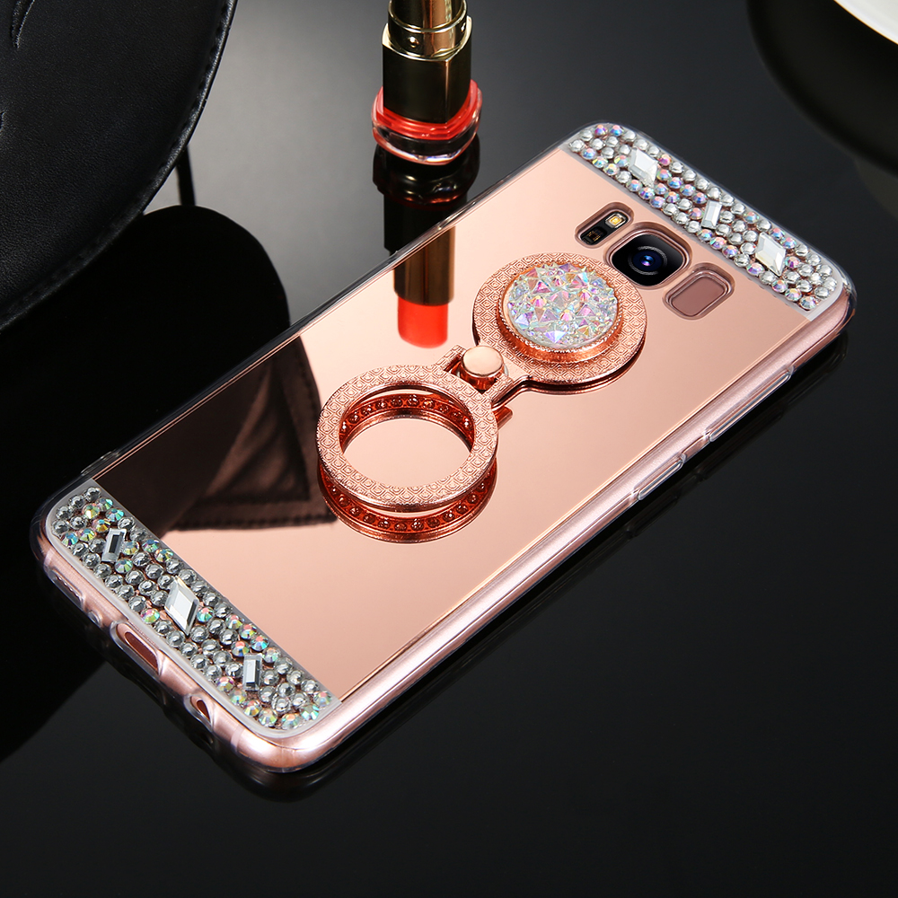 KISSCASE Diamond Ring Holder Phone Case For Samsung Galaxy J3 J5 2016 Luxury Mirror Cases Cover For Samsung J3 Galaxy J5 A5 2017