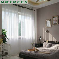 Pure white window Tulle Curtains for Living Room Bedroom Sheer Curtains for The Kitchen Finished Tulle Curtains for Window