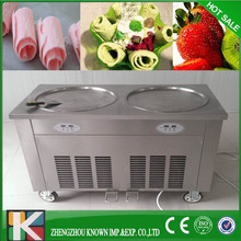 Thailand style double pan fried ice cream roll maker machine with double Japan Compressor