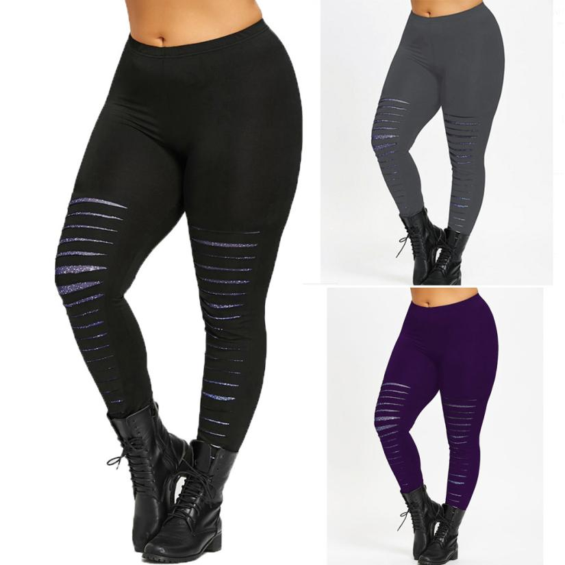 Female Hole Plus Size Women Large Leggings Trousers Large Sport Pants Sweatpants  Sportswear flexible track trousers Fitness