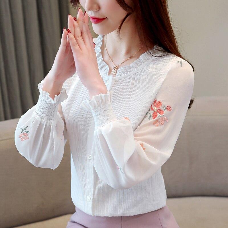 50 En Las Camisas De Moda Floral Primavera Blusa La Ropa Mujer Linterna 1876 2019 Casuales Blanco Ol Gasa Manga Mujeres Blusas F1x1H0wrq