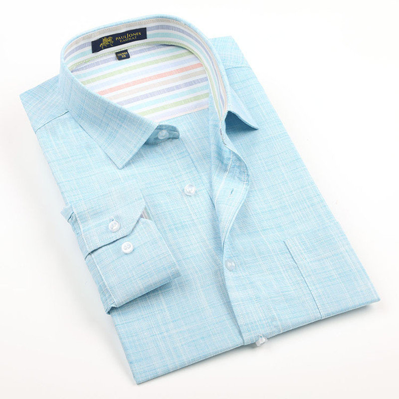 Image 3 - 2019 New Spring Linen Casual Shirt Men Long Sleeve Classic Men's Dress Shirts Slim Fit Solid Color Man Fashion Shirt 3XL YN10011-in Casual Shirts from Men's Clothing