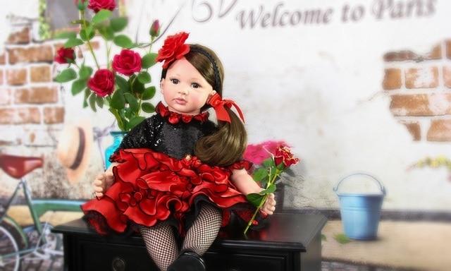 60cm Silicone Reborn Baby Girl Doll Toys For Children 24inch Vinyl Toddler Princess Babies Dolls Lovely