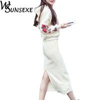 Hai Mảnh Đặt Phụ Nữ Hoa Thêu Hoodies và Đàn Hồi Eo Váy Phù Hợp Với Mùa Thu Nỉ Mùa Đông Ấm Trung Dress Tracksuit