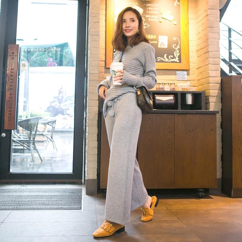 Winter 2019 Super temperament cashmere trousers women knitted wool ball lace wide leg pants women loose warm pants