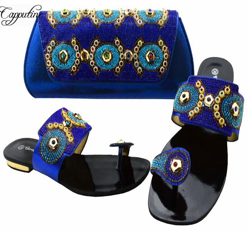 Capputine Newest Italian Shoes With Matching Bag Set African Rhinestone Ladies Slipper Shoes And Bag Set For Party BCH-37  hot artist african style slipper shoes and matching bag set fashion rhinestone ladies pumps shoes and bag set for party me7708