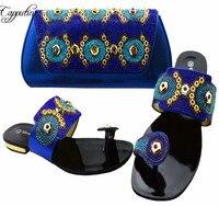 Capputine Nieuwste Italiaanse Schoenen Met Bijpassende Tas Set Afrikaanse Strass Dames Slipper Schoenen En Tas Set Voor Party BCH-37
