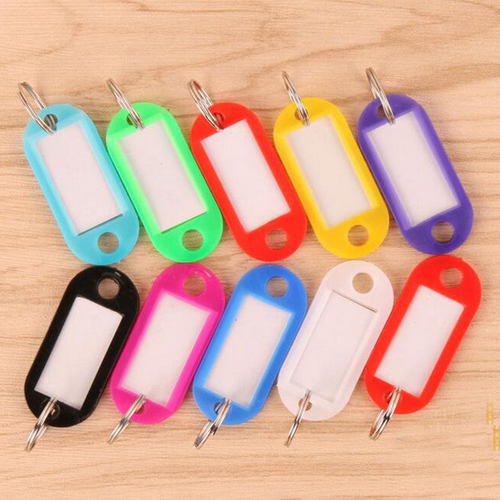 Wholesale 100Pcs Mix Color Plastic Keychain Key Tags Id Label Name Tags With Split Ring For Baggage Key Chains Key Rings