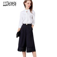 2018 Spring Summer Women S Casual White Shirt Lace Wide Legged Pants Fashion Suits Female Casual