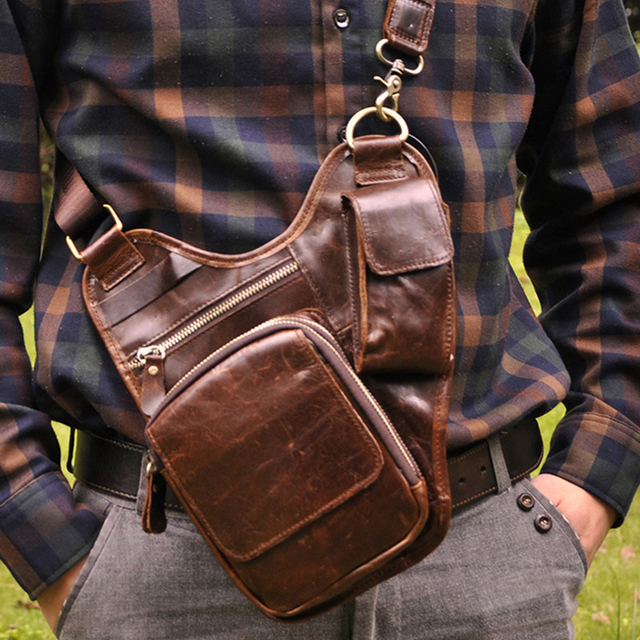 2017 moda Nuevo estilo de Calidad Superior Verdadera del Cuero Genuino de los hombres de la vendimia Pequeño Bolso de La Correa Paquete de La Cintura Bolsa de Pierna de La Gota