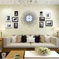 3D большие настенные часы Современная мода металлическая картина из кристаллов часы мебель украшения ремесла креативные Ручные Цифровые на