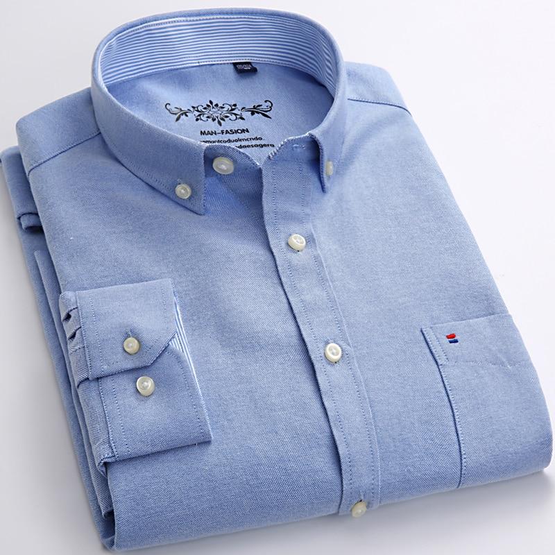 2018 New Autum Design Blue Oxford Solid Color Men Dress Shirts Long Sleeve Button-down Business Formal Regular-fit Men Shirts
