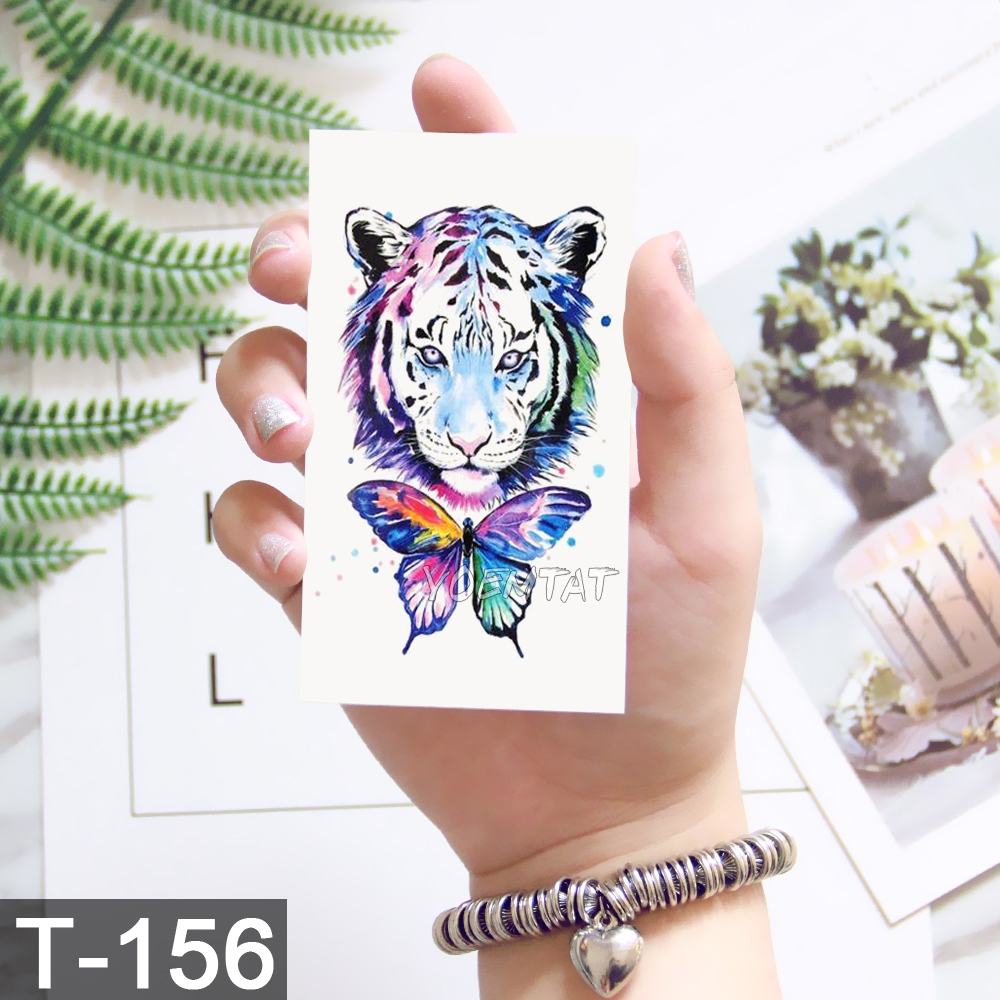 Watercolor cute tiger animal bulb pattern Temporary Fake Tattoo Body Art Sticker Waterproof Women Fashion Hand Tattoo Sticker 4
