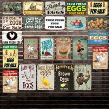 [ DecorMan ] Farm Fresh Eggs Sale  Tin Signs Custom wholesale Metal Paintings Bar PUB Decor HY-1730