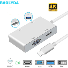 Baolyda USB-C HUB USB Type C to HDMI Hub Adapter Multi Video USB-C HDMI DVI 4K VGA USB Thunderbolt 3 Adapter for MacBook Pro/Air