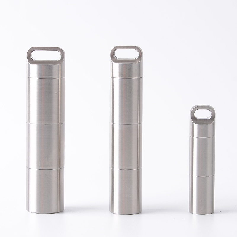 Outdoor Independent Layered Camping Multi Combination Pill Storage Pocket Tank Waterproof Stainless Steel Bottle Medicine Sealed