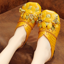 summer womens shoes middle-aged elderly mothers leather mueller sandals wearing thick heel Baotou slippers women Yasilaiya