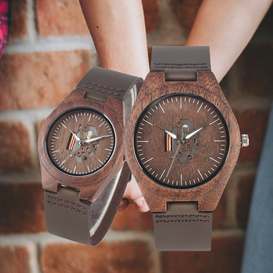 Wood Watch Couple Gift Coffee Brown Creative Men's Genuine-Leather Lovers Casual Hollow