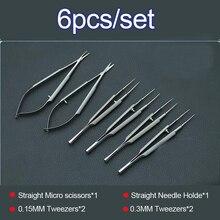 11,5 см офтальмологические микрохирургические инструменты ножницы+ держатели игл+ нержавеющая сталь tweezers хирургический инструмент