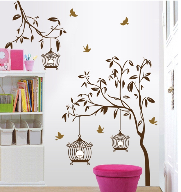 brown tree wall stickers decals women birdcage plants adhesive vinyl mural wallpaper for adult