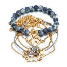 Модный браслет в богемном стиле с сердечками, многослойный браслет с кристаллами, женский подарок, винтажные браслеты для свадьбы и вечеринки
