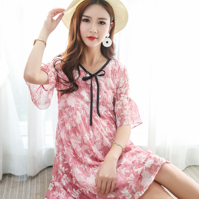 bb7418a0c0763 Floral Printed Chiffon Maternity Nursing Dress Summer Boho Beach Long Breastfeeding  Dress Clothes for Pregnant Women | The Brand Shop