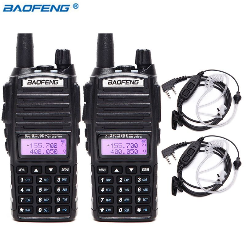 2Pcs Baofeng UV 82 5W Portable Walkie Talkie VHF UHF Dual Band Handheld Transceiver Long Range