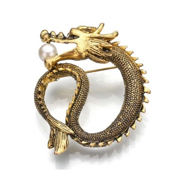 30 pieces/lot free shipping Shiny Funny Crystal Enamel Vintage Dragon Animal Brooch Pins