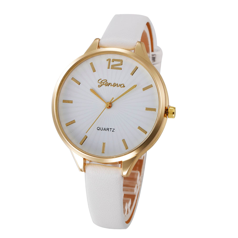 Hot New Relojes Geneva Watch Women Casual Faux Leather Band Analog Quartz Wrist Watch Ladies Dress Slim Strap Colorful Clock new women watches relogio masculino geneva women faux leather analog quartz wrist watch relojes hombre 2017 wholesale 5051908