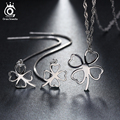 Love Symbol 3 Leaf Clover Necklace Earring Set Silver on Platinum Plated,Clover Jewelry Set OS42