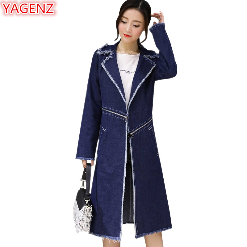 YAGENZ Denim   Trench   Coat For Women Dames Jassen Winter Clothes Plus size Long Coat For Womens Windbreaker Separable Coats 1026