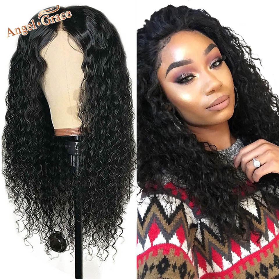 Peruvian Deep Wave Lace Front Wig For Woman Natural Black Remy Human Hair Lace Wigs Angel