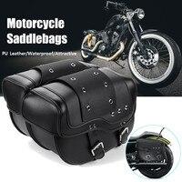 2pcs Universal Motorcycle Saddlebag PU Leather Saddle Bag Tool Luggage Storage Bag for Honda/Suzuki/Kawasaki/Yamaha