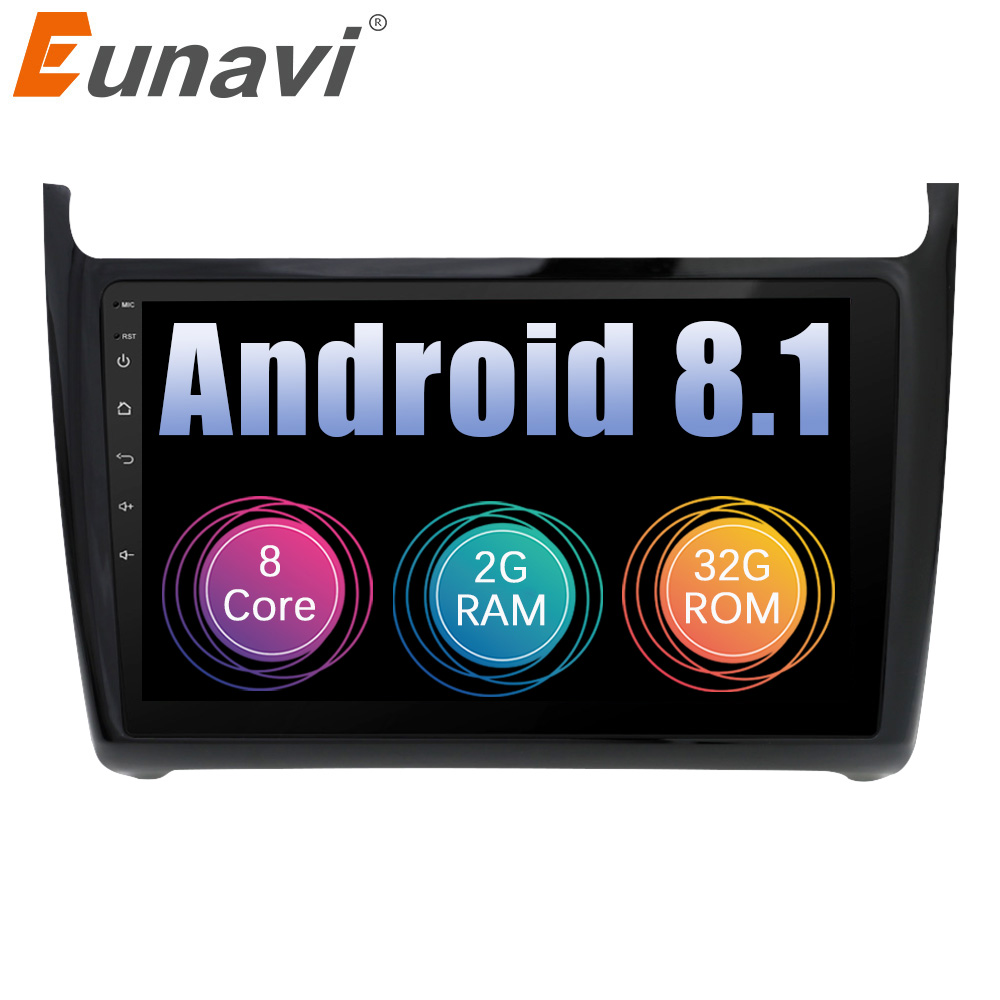 Eunavi 2 Din 10.1 inch Octa core Android 8.1 Car Radio Multimedia Video Player for Volkswagen VW POLO 2012-2018 sedan no dvd
