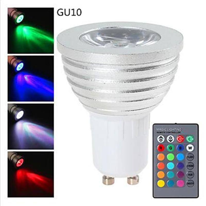 RGB LED Spotlight  Colors Changing AC85-265V 3W GU10/E27/E14/GU5.3 LED Bulb Lamp With 24 Key IR Remote Controller  Free Shipping