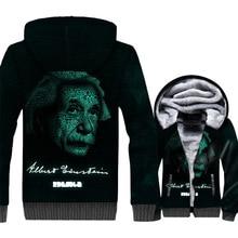 men streetwear hip-hop jackets coats 2019 Einstein Funny expression brand clothing winter fashion harajuku rib sleeve tracksuits