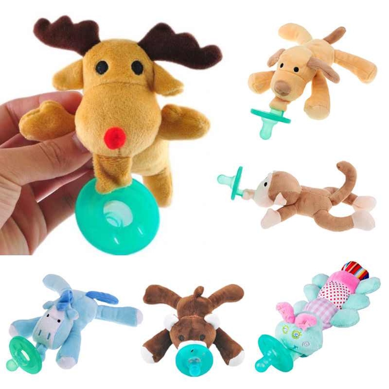 Cartoon Animal Baby Pacifier Chain Plush Toy Newborn Baby Standard Caliber Silicone Nipple Feeding Accessories Unremovable
