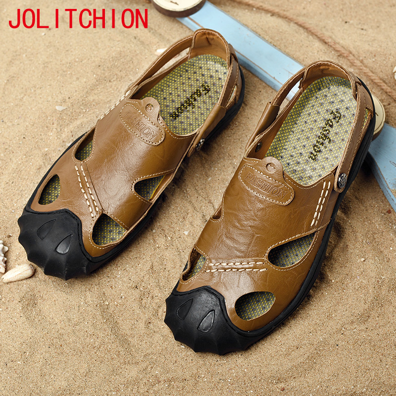 Men Cow Leather Casual Sandals Outdoor 2018 Summer Handmade Men Shoes Breathable Casual Shoes Footwear Walking Sandals 38-46